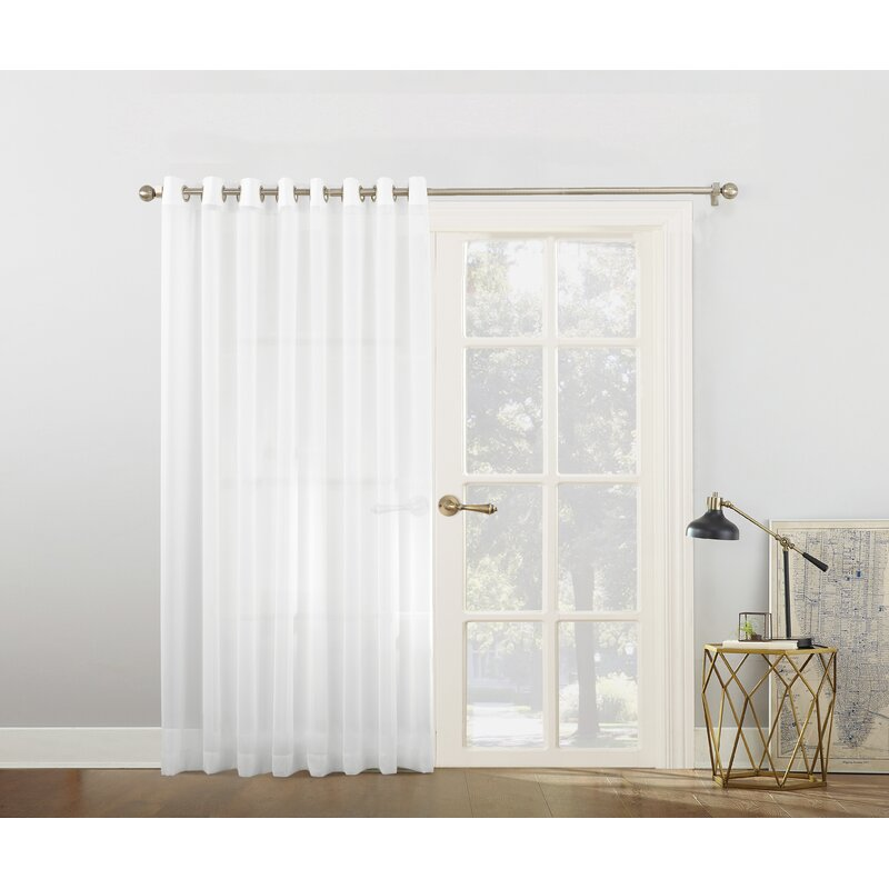 Emily Voile Sliding Door Patio Solid Semi-Sheer Grommet Single Curtain Panel  sc 1 st  Wayfair & No. 918 Emily Voile Sliding Door Patio Solid Semi-Sheer Grommet ...