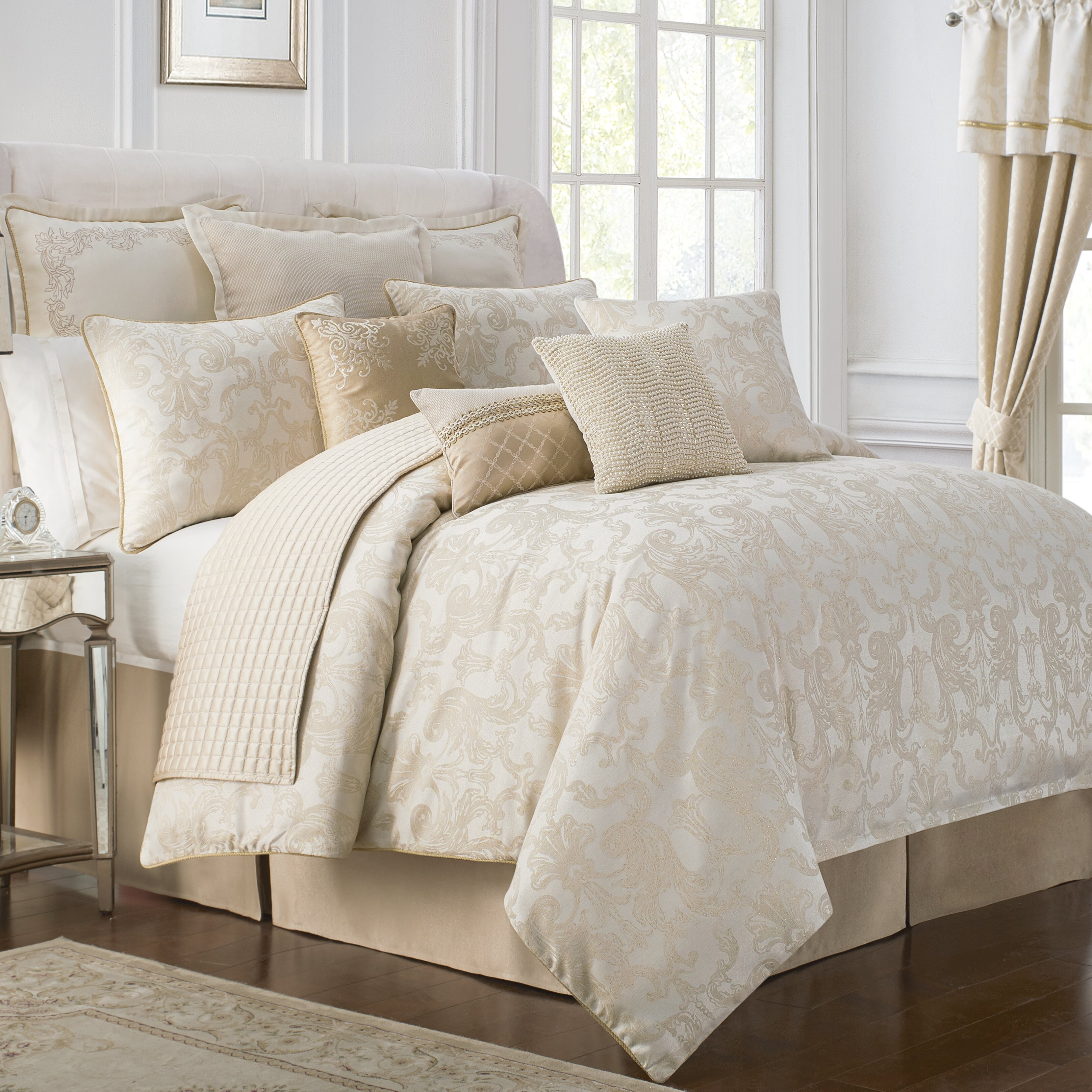 by aramis set queen waterford comforter bannon damask linens gold acanthus bedding sets decoration