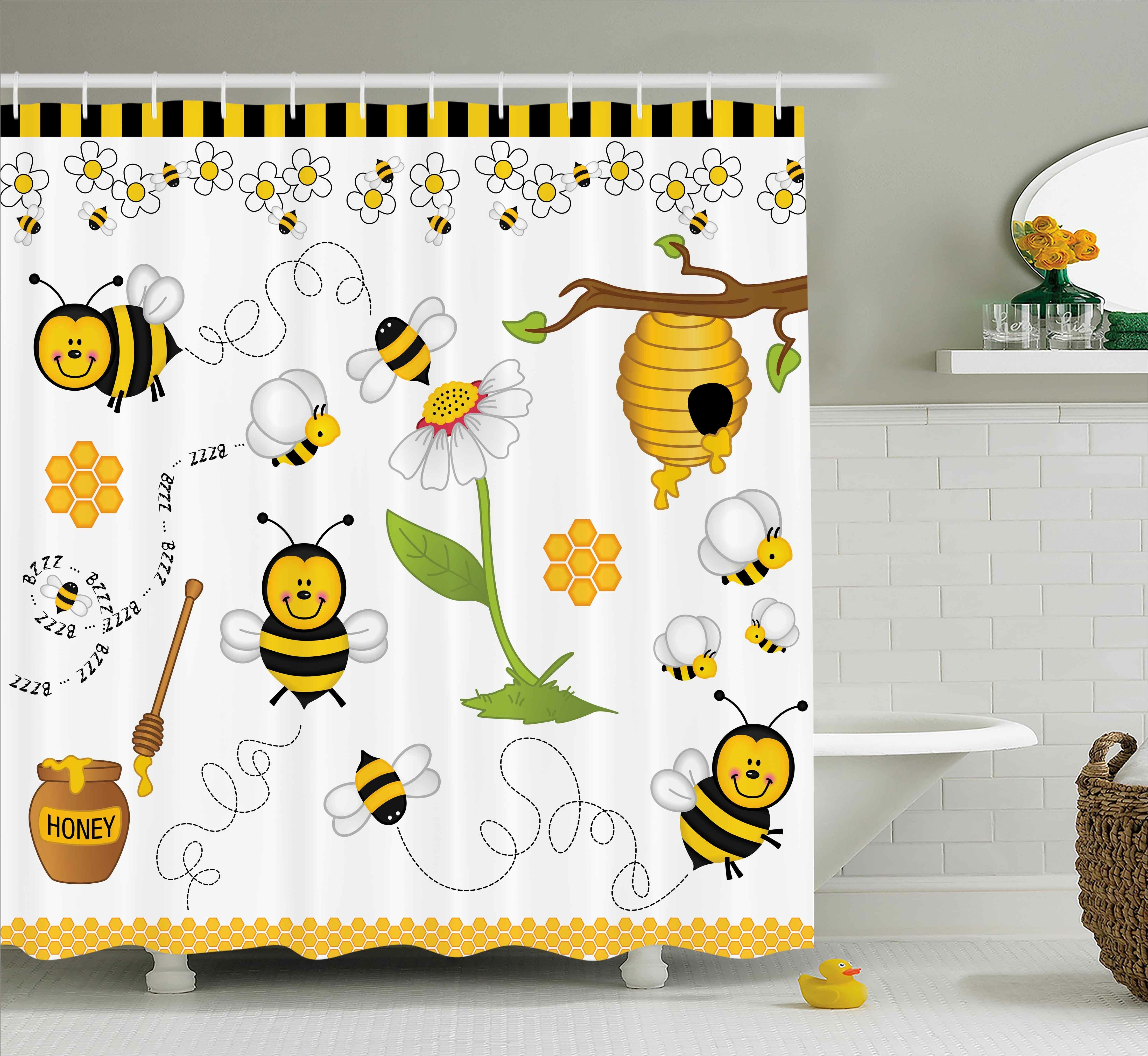 Zoomie Kids Luna Bees Daisies Chamomile Shower Curtain