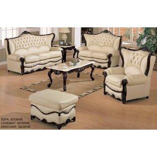 Superior Elegant 3 Piece Leather Living Room Set