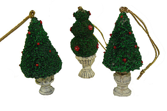 northlight 576 piece potted topiary tree christmas ornament set wayfair - Topiary Christmas Decorations
