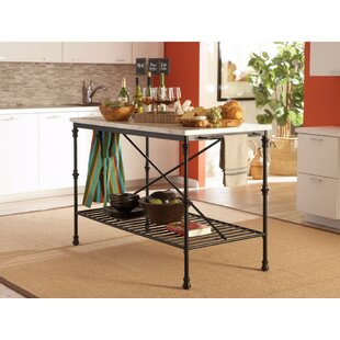 Galster Well-Made Metal Kitchen Island with Faux Marble