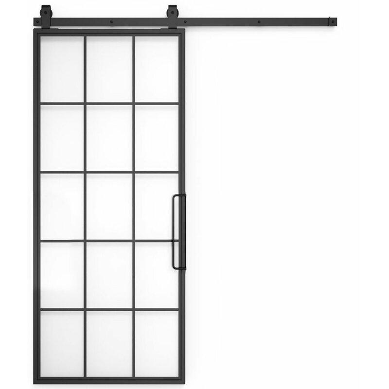 Pleasant Glass Metal Mountain Barn Door With Installation Hardware Kit Download Free Architecture Designs Itiscsunscenecom