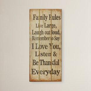 Family Rules Wooden Wall Art Wayfair