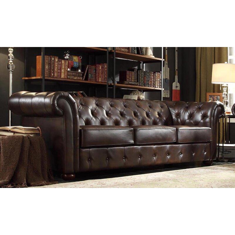 Willa Arlo Interiors Vegard Chesterfield Faux Leather Sofa & Reviews ...