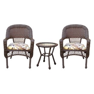 Belwood Resin Wicker 3 Piece Dining Set With Floral Cushions