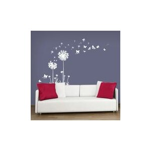 White Dandelion with Butterflies Wall Sticker