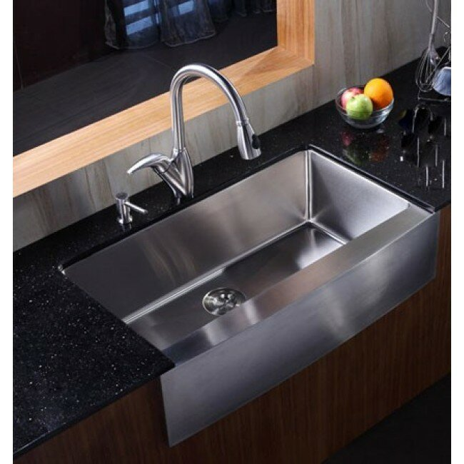 "Stainless Steel Farmhouse Kitchen Sinks emodern decor ariel 36"" x 21"" stainless steel single bowl"