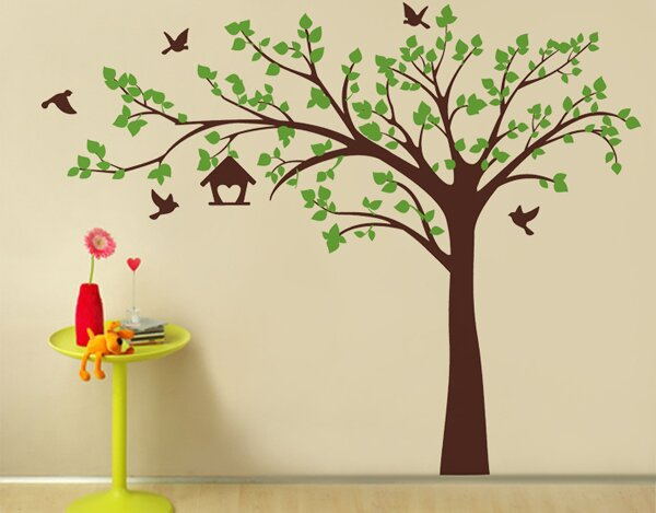 Big Tree With Love Birds Wall Decal Part 85