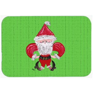 Christmas Fleur De Lis Santa Claus Kitchen/Bath Mat