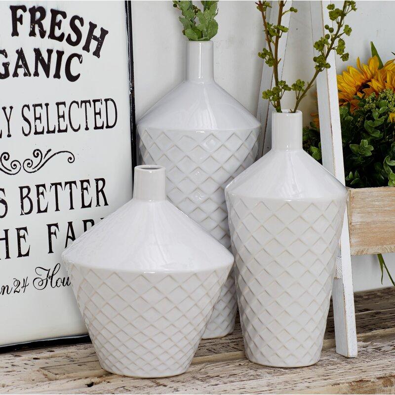 Brayden Studio Gosser Contemporary Tapered 3 Piece Table Vase Set