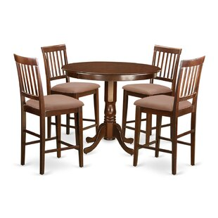 Trenton 5 Piece Counter Height Solid Wood Dinning Set Savings