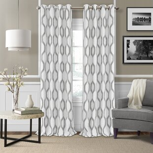 White Curtains With Gray Trim Wayfair