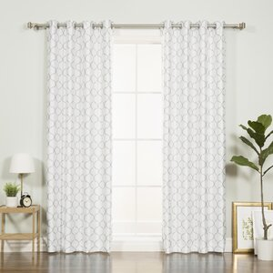 Faux Silk Quatrefoil Geometric Blackout Thermal Grommet Single Curtain Panel