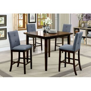 Hann Wooden 5 Piece Counter Height Dining Table Set No Copoun