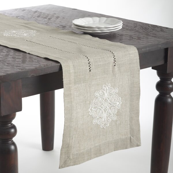 Saro Lucia Embroidered Medallion Design Oblong Table Runner U0026 Reviews |  Wayfair