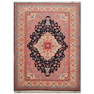 One Of A Kind Elbridge Traditional Persian Hand Knotted 5 10 X 8 9 Wool Navy Pink Ivory Area Rug