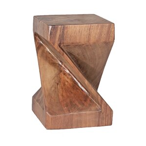 Natural Teak Twist End Table by Ibolili