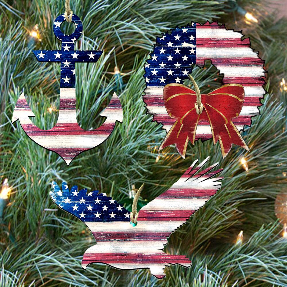 Patriotic Christmas Ornaments.3 Piece Patriotic Holiday Shaped Ornaments Set