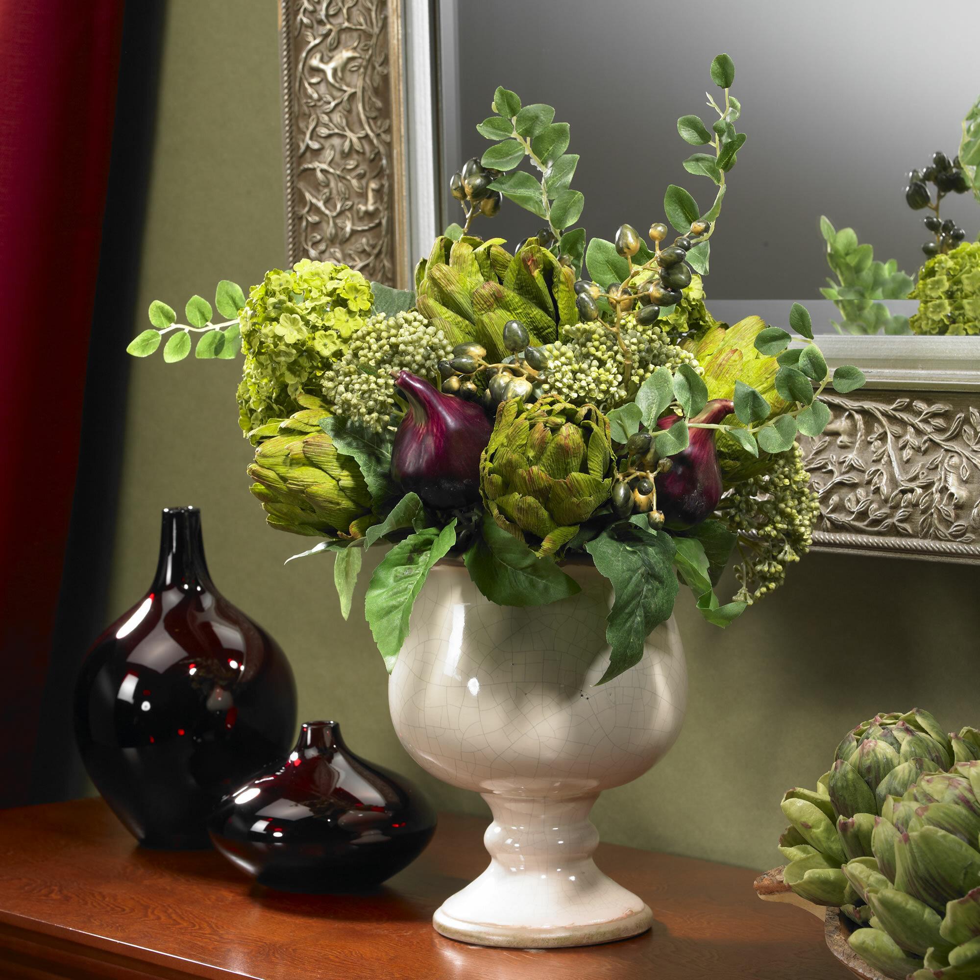 Alcott Hill Artichoke And Hydrangea Silk Centerpiece In Decorative
