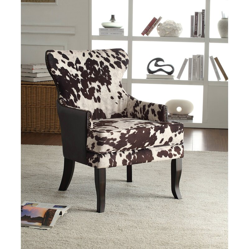 Ordinaire Faux Cowhide Accent Wingback Chair