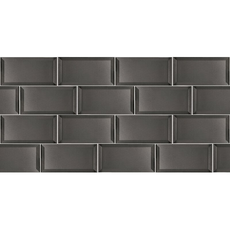 Abolos Secret Dimensions 3 X 6 Glass Subway Tile In Glossy Gray
