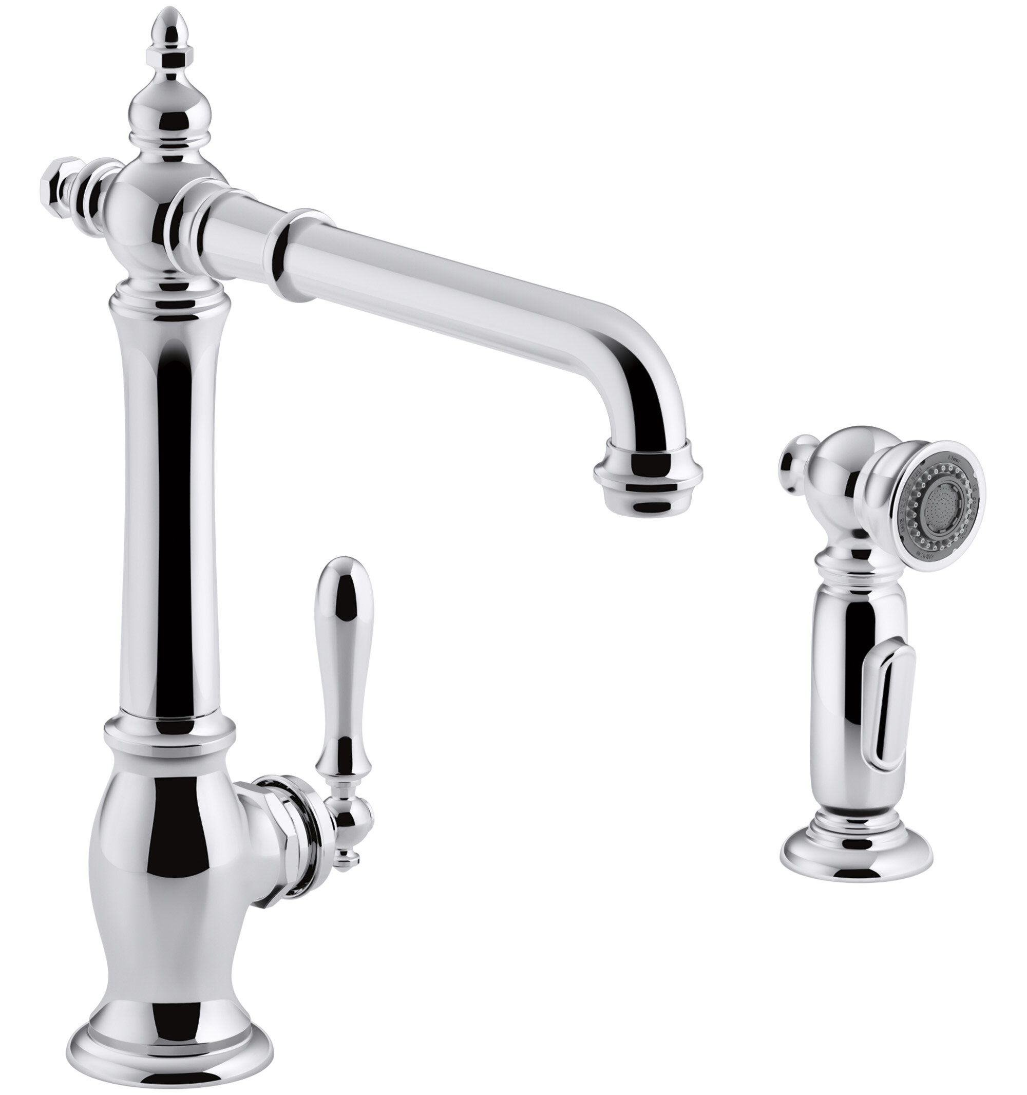 99265 cpk  snk  vs kohler artifacts   2 hole kitchen sink faucet with 13 1  2   swing spout and matching finish two function sidespray with sweep        99265 cpk  snk  vs kohler artifacts   2 hole kitchen sink faucet      rh   wayfair com