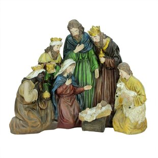 religious holy family and three kings christmas nativity scene decoration