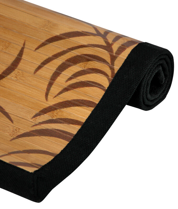 oriental furniture tropical tan leaf bamboo area rug & reviews | wayfair Bamboo Area Rug
