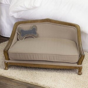Aristotle Sophisticated Decorative Dog Sofa with Arched Wood Frame