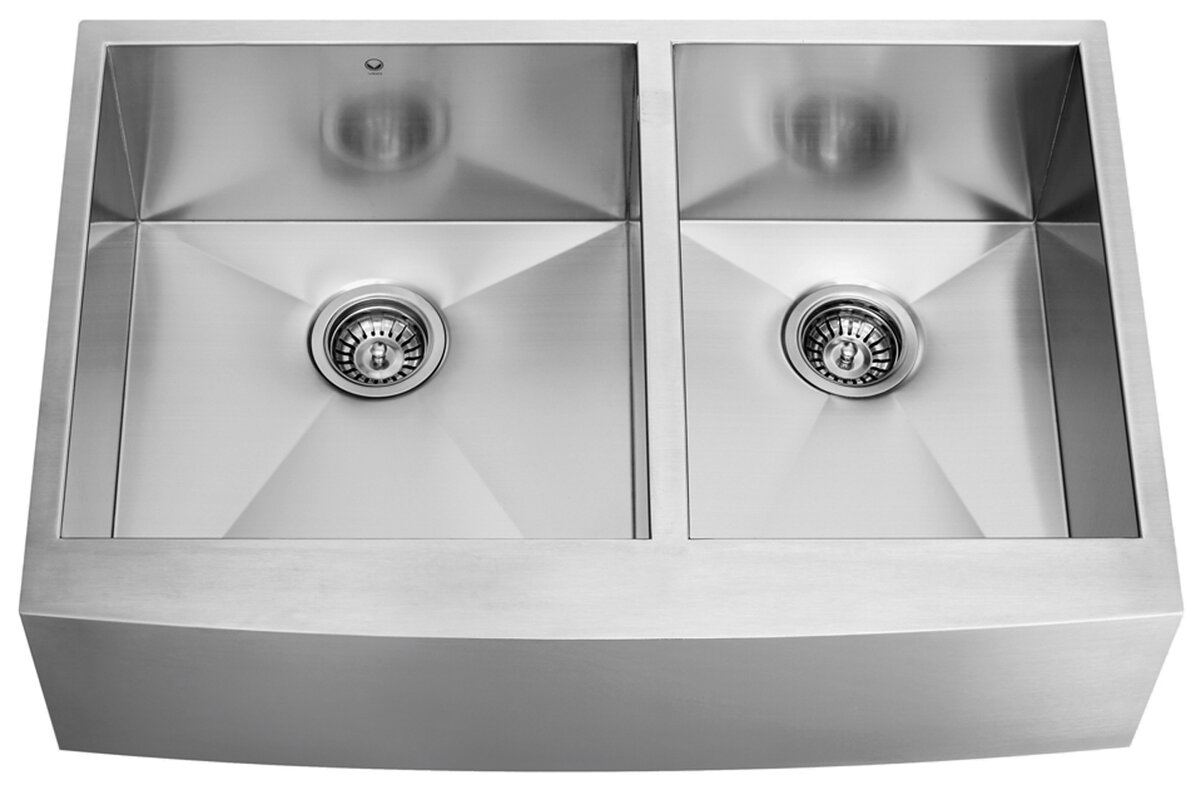 chisholm 36   x 22   double basin farmhouse kitchen sink vigo chisholm 36   x 22   double basin farmhouse kitchen sink      rh   wayfair com