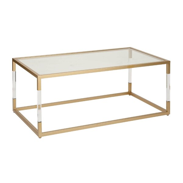 Cole & Grey Metal And Glass Acrylic Coffee Table & Reviews