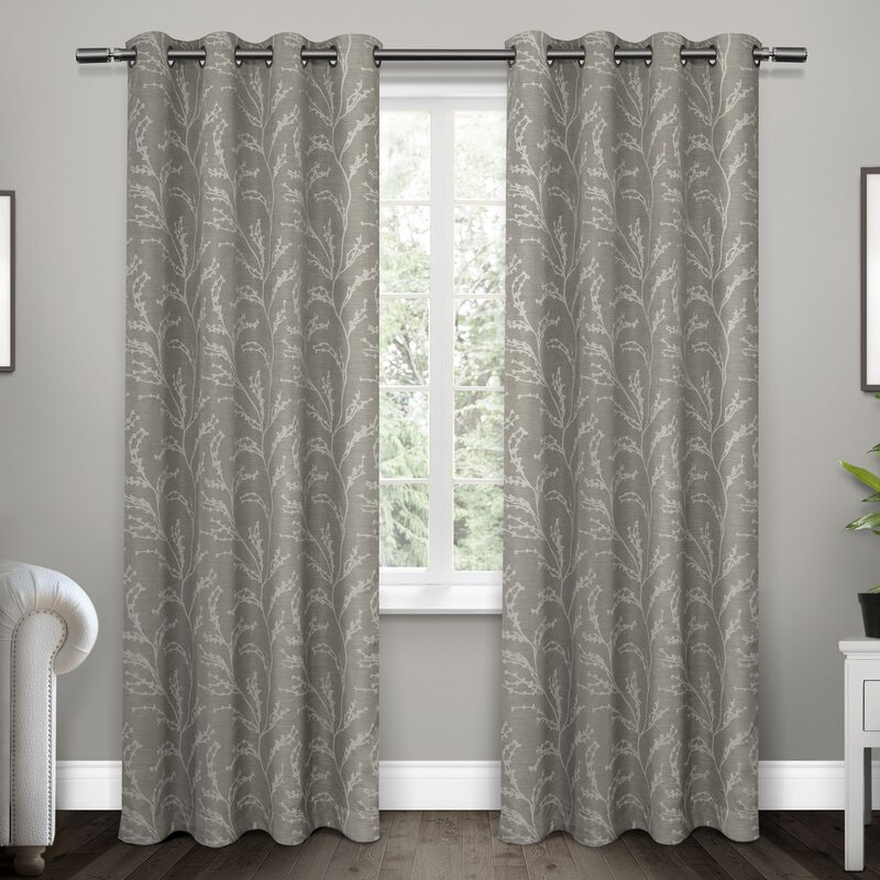 Baillons Nature/Floral Room Darkening Thermal Grommet Curtain Panels ...