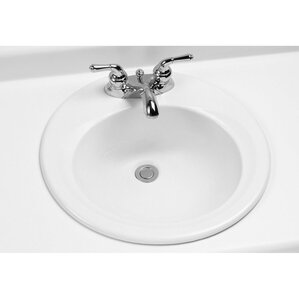 Ceramic Circular Drop In Bathroom Sink With Overflow