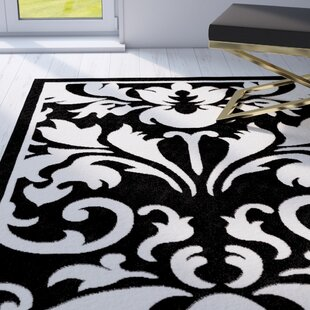 Medici Hand-Tufted Black/White Area Rug Mercer41