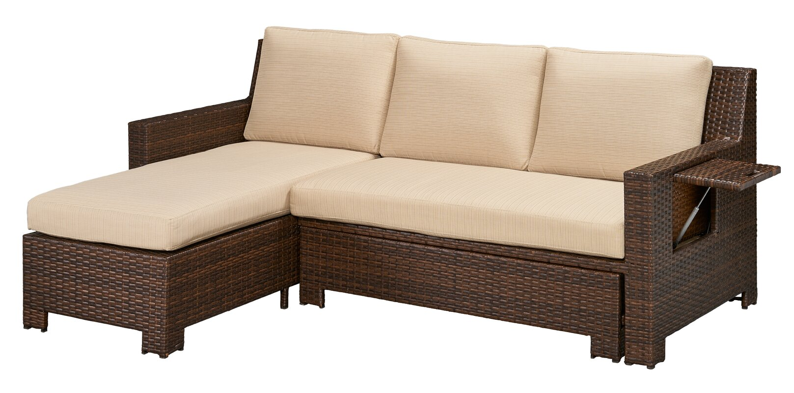 Awesome Ferndale Deck Convertible Sectional Sofa With Cushions