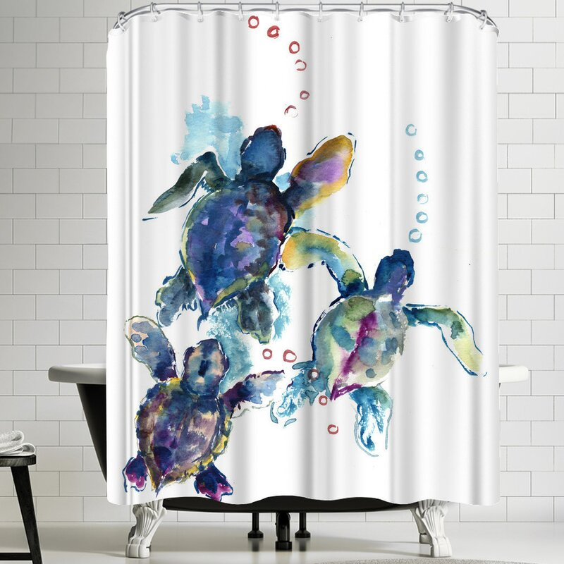 East Urban Home Suren Nersisyan Baby Sea Turtles 3 Shower Curtain
