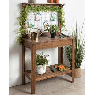 Yavor Wooden Potting Bench Workstation Table