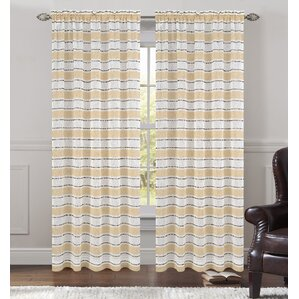 Deneuve Striped Sheer Rod Pocket Curtain Panels (Set Of 2)