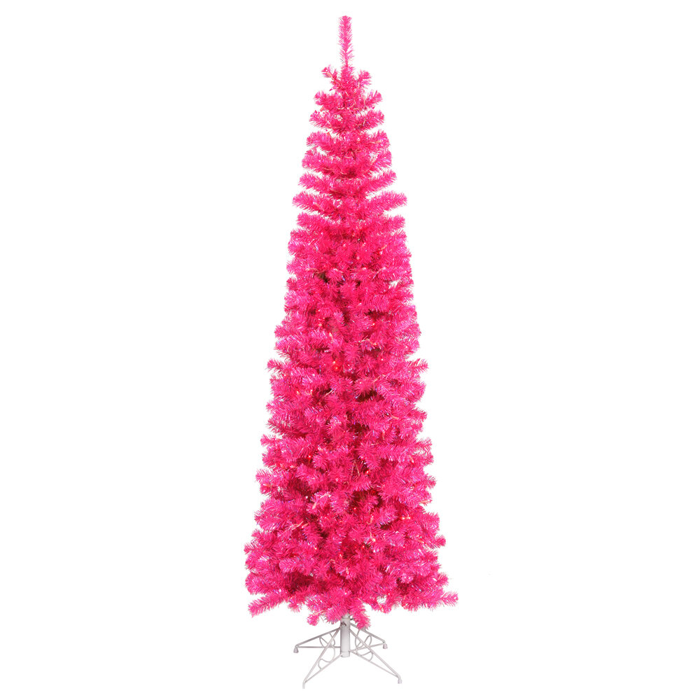 6 5 Hot Pink Pine Artificial Christmas Tree With 300 Single Colored Lights