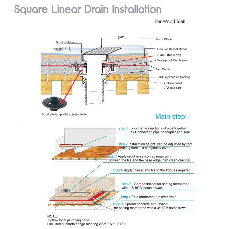 2 Sided Reversible Tile Insert Grate Linear Grid Shower Drain