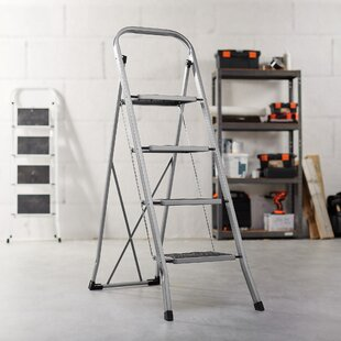 Folding Portable 4 Step Steel Ladder With 330lbs Capacity