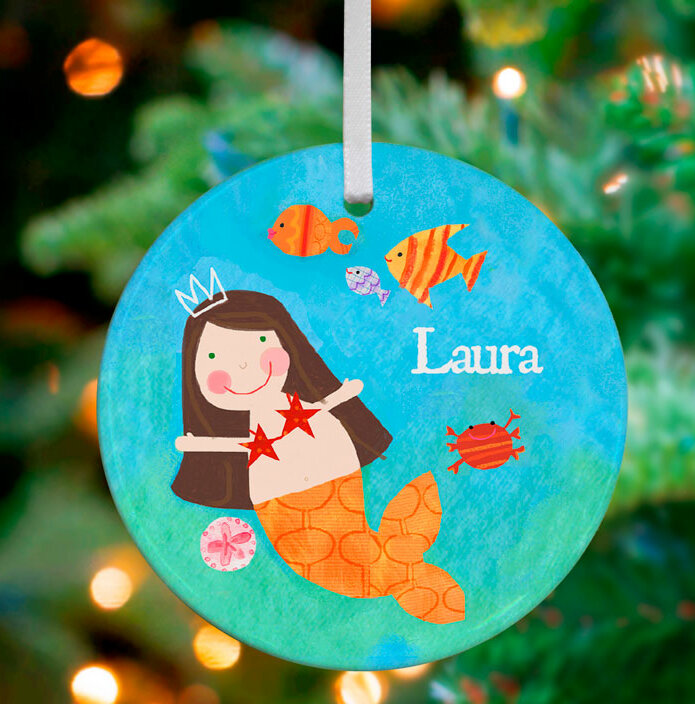 Mcdonalds Christmas Ornament.Brunette Mermaid Personalized Ornament By Jill Mcdonald