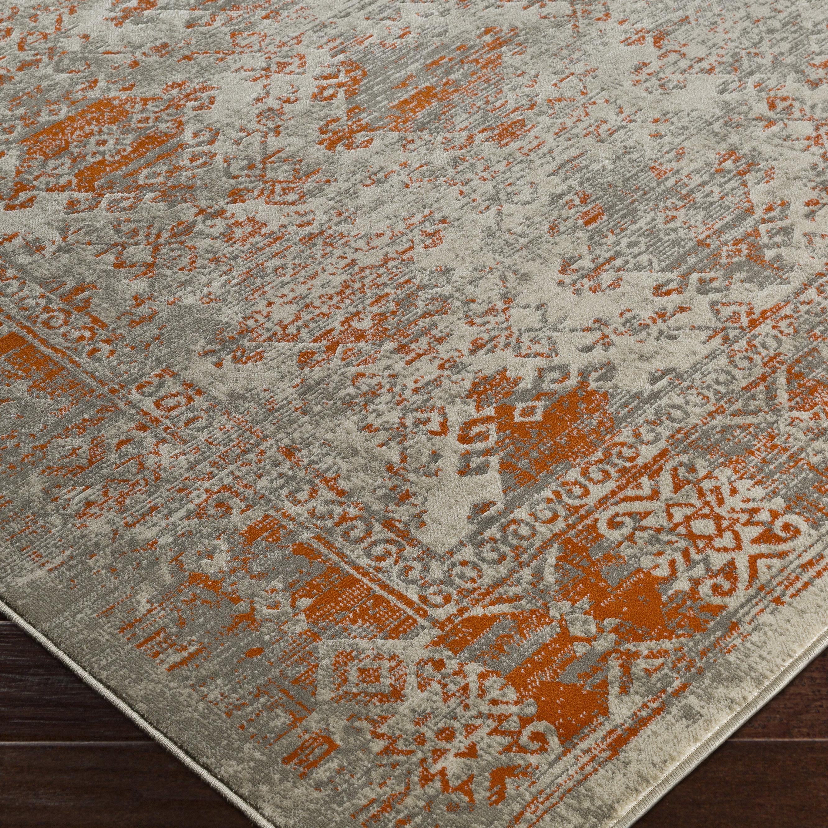 Anil Polypropylene Orange/Gray Area Rug