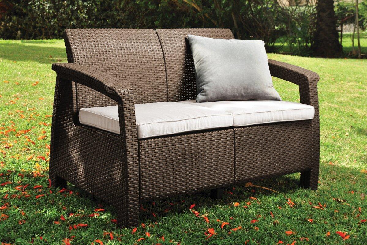 Mercury Row Berard Patio Loveseat with Cushions & Reviews   Wayfair