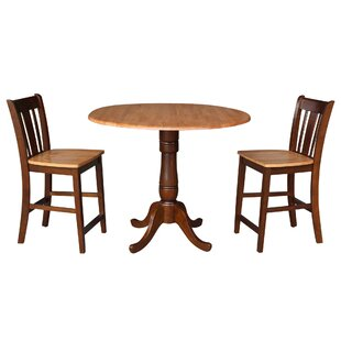 Sprayberry Round Top Pedestal Extending 3 Piece Pub Table Set