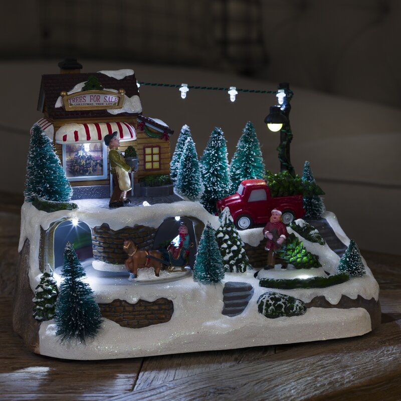 Konstsmide Weihnachtsbeleuchtung.Led Christmas Village With Animated Sleigh Delivering Trees
