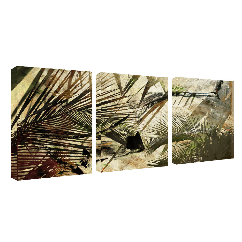Abstract Palms 3 Piece Graphic Art On Wrapped Canvas Set
