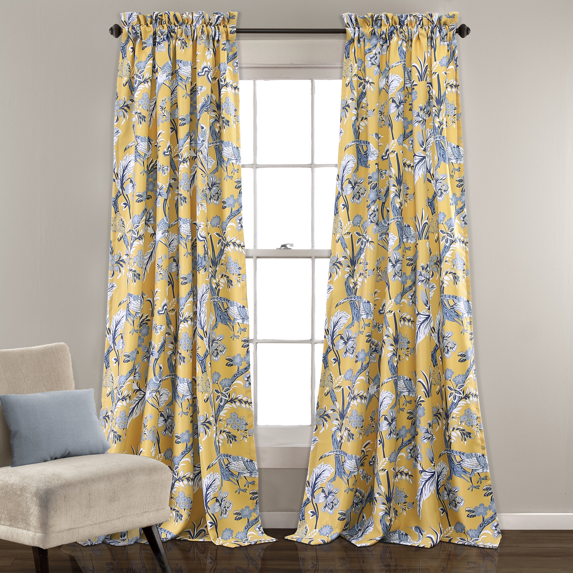 Panagia nature floral room darkening thermal rod pocket curtain panels reviews joss main