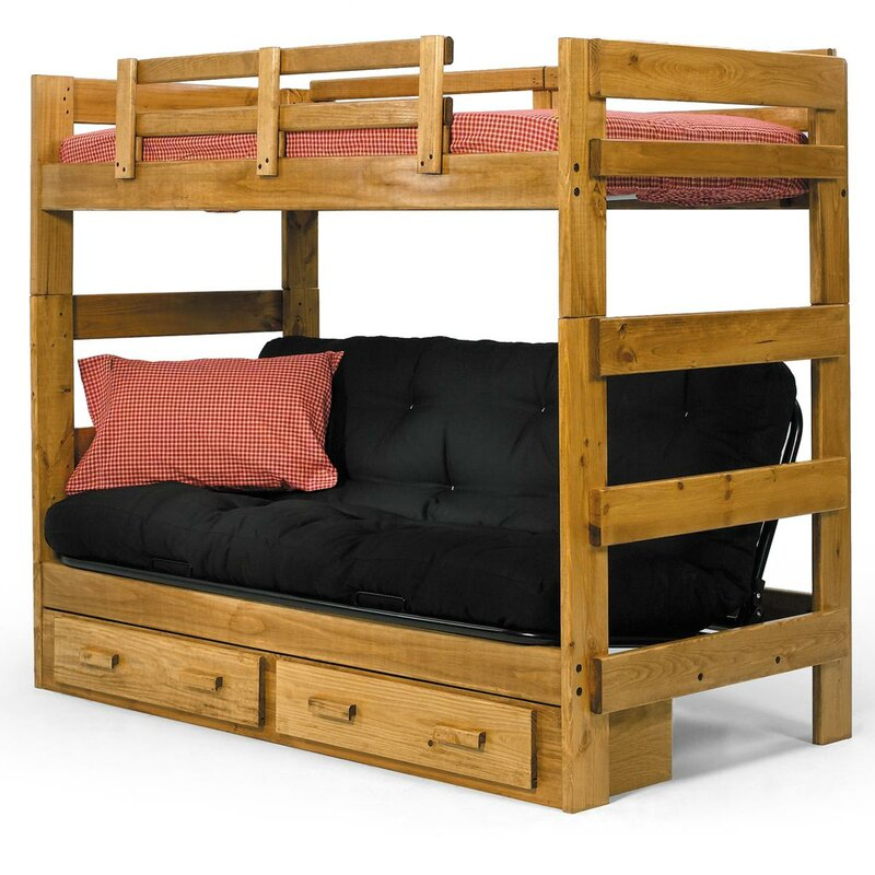 Bunk Bed Image chelsea home twin futon bunk bed with storage & reviews | wayfair
